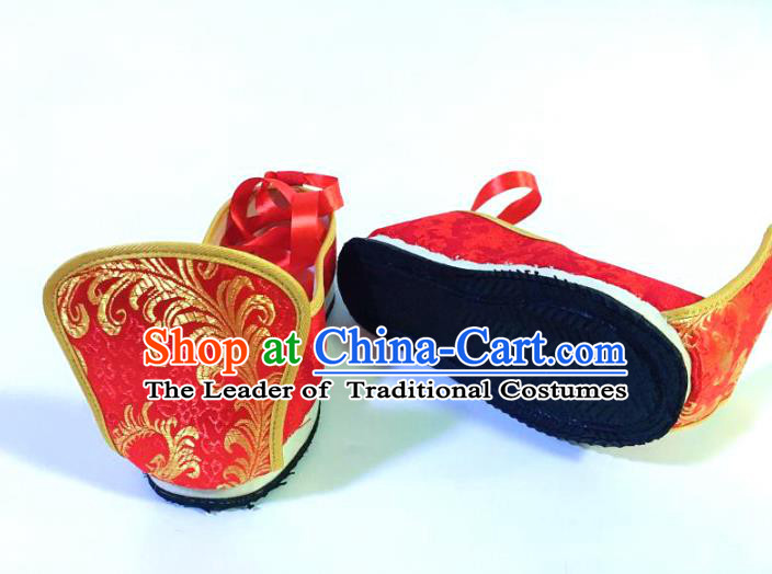 Traditional Chinese Ancient Han Dynasty Wedding Embroidered Shoes, China Handmade Hanfu Embroidery Red Shoes for Men