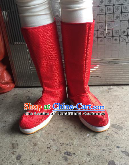 Traditional Chinese Ancient Red Officer Boots, China Handmade Peking Opera Hanfu Embroidery Shoes for Men