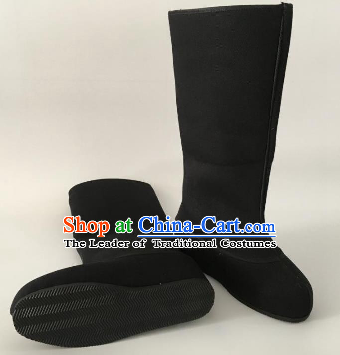 Traditional Chinese Ancient Black Cloth Officer Boots, China Handmade Peking Opera Swordsman Hanfu Embroidery Shoes for Men