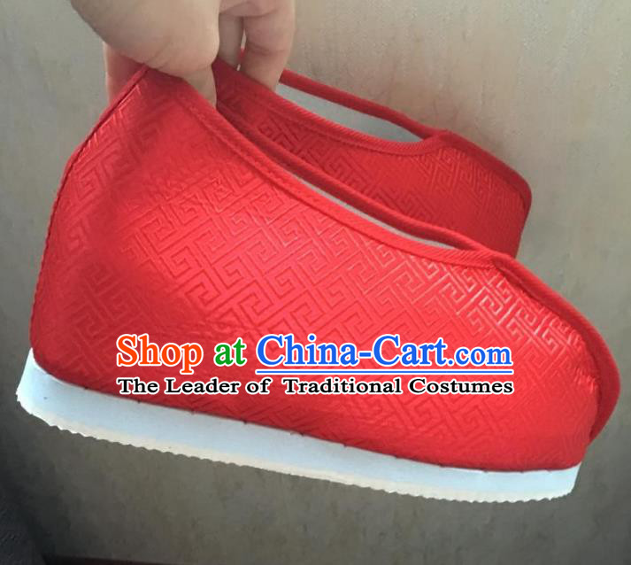 Traditional Chinese Ancient Swordsman Red Satin Shoes, China Handmade Peking Opera Hanfu Embroidery Shoes for Women