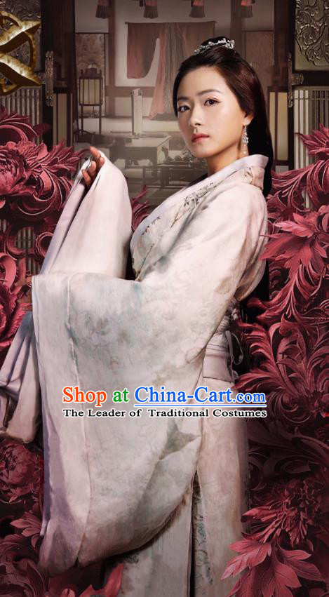 Traditional Ancient Chinese Tang Dynasty Palace Lady Imperial Concubine Embroidered Costume for Women