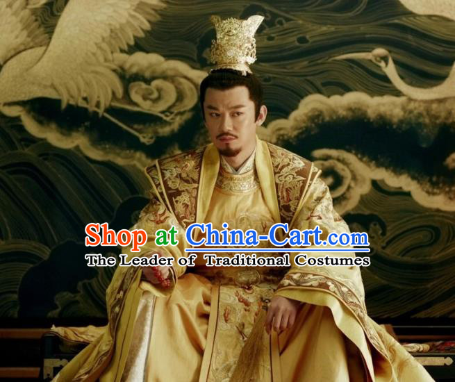 Traditional Chinese Tang Dynasty Imperial Emperor Clothing Ancient Majesty Embroidered Costume and Headpiece Complete Set for Men