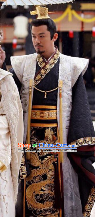 Traditional Chinese Tang Dynasty Imperial Emperor Clothing, China Ancient Majesty Embroidered Costume and Headpiece Complete Set for Men