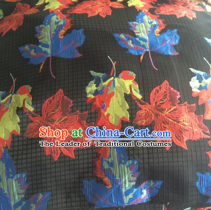 Chinese Traditional Costume Royal Palace Printing Maple Leaf Brocade Fabric, Chinese Ancient Clothing Drapery Hanfu Cheongsam Material