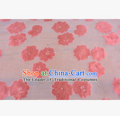 Chinese Traditional Costume Royal Palace Pink Flowers Pattern Brocade Fabric, Chinese Ancient Clothing Drapery Hanfu Cheongsam Material