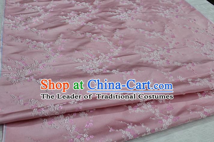 Chinese Traditional Royal Palace Wintersweet Pattern Cheongsam Light Pink Brocade Fabric, Chinese Ancient Emperor Costume Drapery Hanfu Tang Suit Material