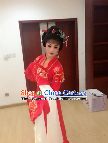 Traditional Ancient Chinese Yueju Opera Dancing Costume, Chinese Folk Dance Water Sleeves Dress, Chinese Imperial Emperess Embroidery Costume for Women