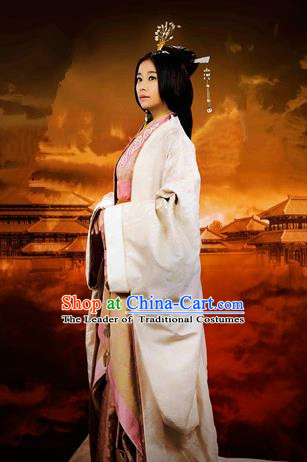 Traditional Ancient Chinese Imperial Emperess Costume, Elegant Hanfu Clothing Chinese Han Dynasty Imperial Emperess Tailing Embroidered Clothing for Women