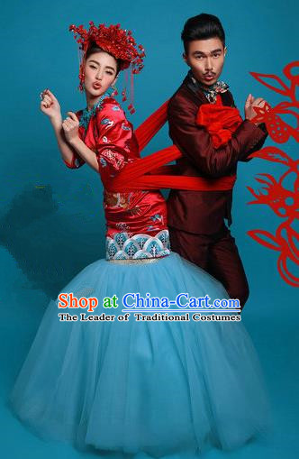 Traditional Chinese Wedding Costume, Elegant Chinese Wedding Bride Toast Full Dress Embroidered Clothing for Women