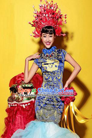 Traditional Chinese Wedding Costume, Elegant Chinese Wedding Bride Toast Full Dress Embroidered Phoenix Clothing for Women