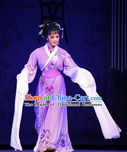 Traditional Ancient Chinese Imperial Consort Yueju Opera Costume, Elegant Hanfu Clothing Chinese Yueju Opera Imperial Emperess Water Sleeves Clothing for Women