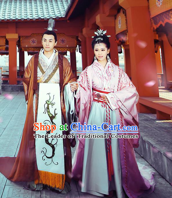 Traditional Ancient Chinese Imperial Consort and Emperor Costume Set, Elegant Hanfu Clothing Chinese Han Dynasty Imperial Queen and King Tailing Embroidered Clothing for Women for Men