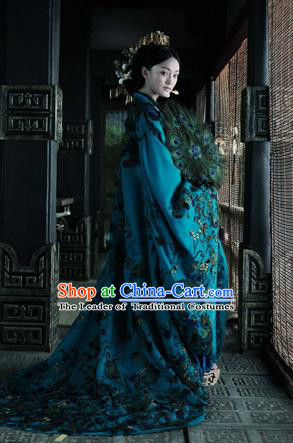Traditional Ancient Chinese Imperial Consort Costume, Elegant Lady Peacock Feather Clothing Chinese Qing Dynasty Imperial Princess Tailing Clothing for Women for Men