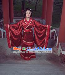 Traditional Ancient Chinese Imperial Consort Wedding Costume, Elegant Hanfu Clothing Chinese Han Dynasty Young Lady Full Sleeves Clothing for Women