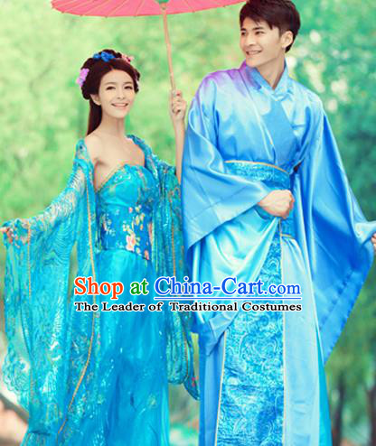 Traditional Ancient Chinese Lovers Costume, Chinese Tang Dynasty Female and Male Dress, Cosplay Chinese Imperial Concubine Embroidered Clothing for Women for Men