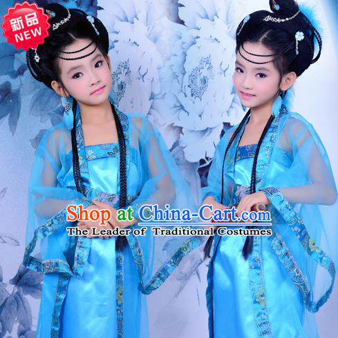 Traditional Ancient Chinese Imperial Princess Children Costume, Chinese Tang Dynasty Little Fairy Elegant Dress, Cosplay Chinese Princess Hanfu Clothing for Kids