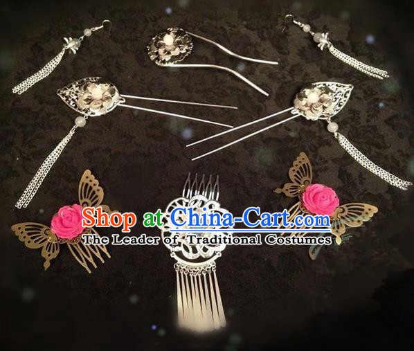 Chinese Wedding Jewelry Accessories Traditional Xiuhe Suits Wedding Bride Headwear Wedding Earrings, Tiara Ancient Chinese Red Tassel Harpins and Earrings for Women
