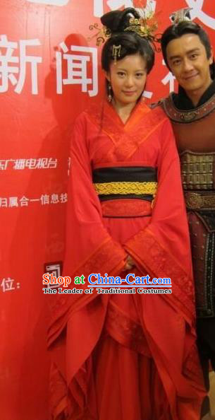 Traditional Ancient Chinese Imperial Consort Red Costume, Elegant Hanfu Clothing Chinese Han Dynasty Imperial Emperess Tailing Embroidered Clothing for Women