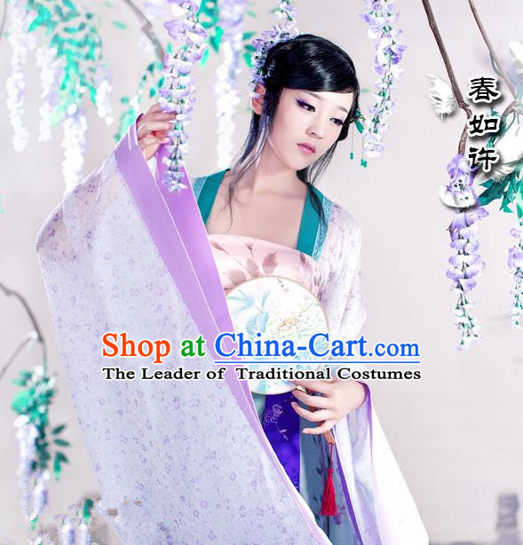 Traditional Ancient Chinese Water Sleeves Dance Costume, Elegant Chinese Tang Dynasty Tailing Embroidered Clothing for Women
