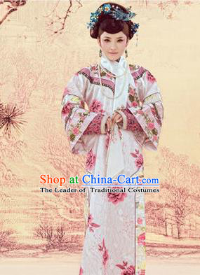 Traditional Ancient Chinese Imperial Consort Costume, Chinese Qing Dynasty Manchu Lady Dress, Chinese Mandarin Printing Robes Imperial Concubine Embroidered Clothing for Women