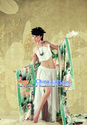 Traditional Ancient Chinese Imperial Consort Sexy Costume, Elegant Hanfu Clothing Chinese Tang Dynasty Imperial Emperess Tailing Green Chiffon Clothing for Women