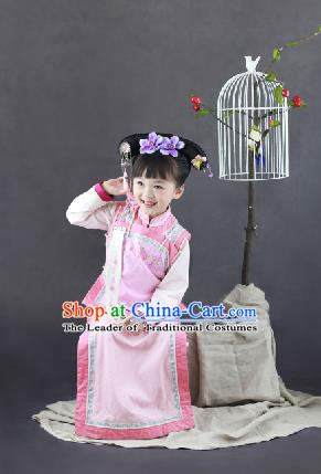 Traditional Ancient Chinese Children Costume, Chinese Qing Dynasty Manchu Little Lady Dress, Chinese Mandarin Robes Imperial Concubine Embroidered Clothing for Kids
