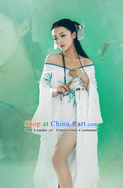 Traditional Ancient Chinese Peking Opera Female Costume, Hanfu Clothing Chinese Tang Dynasty Embroidered Bamboo Clothing for Women
