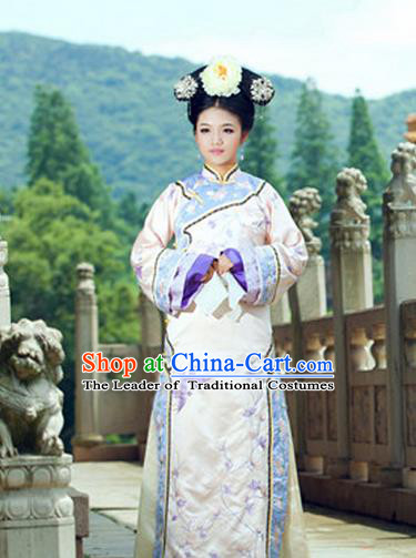 Traditional Ancient Chinese Imperial Consort Costume, Chinese Qing Dynasty Manchu Lady Dress and Vest, Chinese Mandarin Robes Imperial Concubine Embroidered Clothing for Women