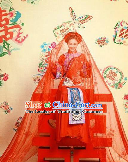 Ancient Chinese Costume Xiuhe Suits Chinese Style Wedding Dress Red Ancient Embroidered Dragon and Phoenix Flown Bride Toast Cheongsam for Women