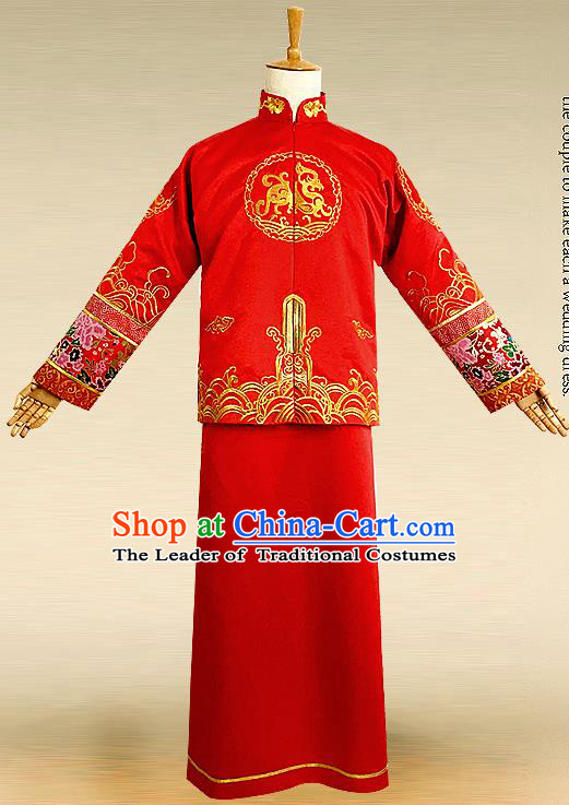Traditional Ancient Chinese Costume Chinese Style Tang Suit Wedding Red Dress Ancient Long Kylin Flown Mandarin Jacket Groom Toast Clothing for Men