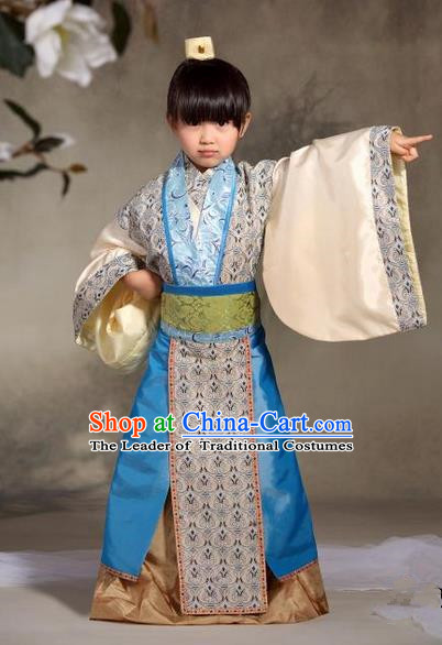 Traditional Ancient Chinese Nobility Childe Children Costume, Children Elegant Hanfu Dress Chinese Han Dynasty Imperial Prince Clothing for Kids