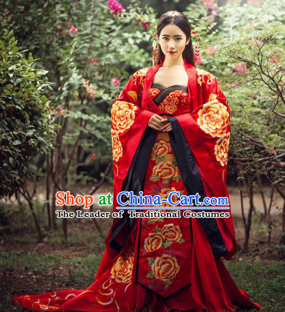 Traditional Ancient Chinese Imperial Consort Wedding Costume, Elegant Hanfu Red Dress, Chinese Tang Dynasty Imperial Emperess Tailing Embroidered Peony Clothing for Women