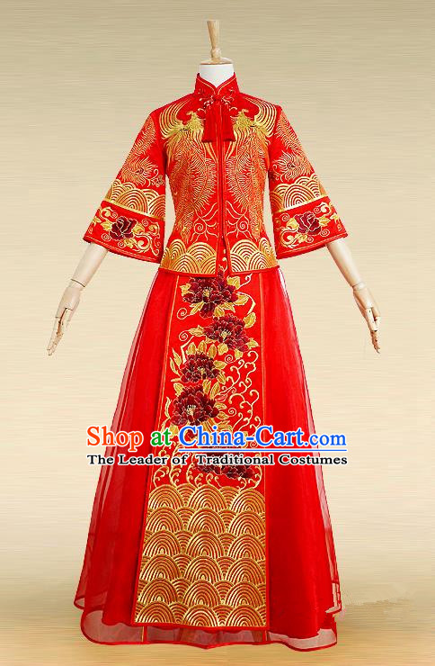 Traditional Ancient Chinese Costume Xiuhe Suits, Chinese Style Wedding Bride Dress, Restoring Ancient Women Red Embroidered Phoenix Flown, Bride Toast Cheongsam for Women