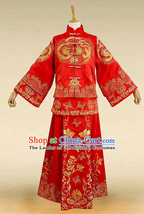 Traditional Ancient Chinese Costume Twin Bliss Xiuhe Suits, Chinese Style Wedding Bride Full Dress, Restoring Ancient Women Red Embroidered Dragon and Phoenix Flown, Bride Toast Cheongsam for Women