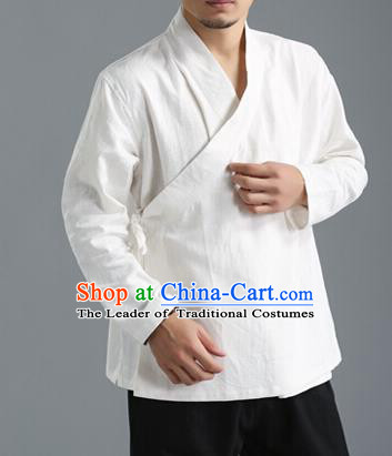 Traditional Top Chinese National Tang Suits Flax Frock Costume, Martial Arts Kung Fu Slant Opening White Coats, Kung fu Unlined Upper Garment Jacket, Chinese Taichi Short Coats Wushu Clothing for Men