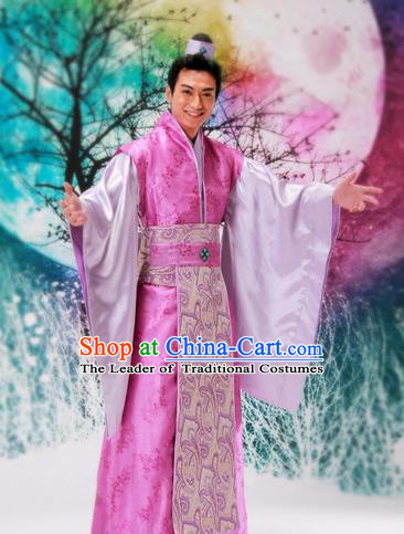 Traditional Ancient Chinese Nobility Childe Costume, Hanfu Dress Chinese Tang Dynasty Imperial Prince Embroidered Clothing for Men