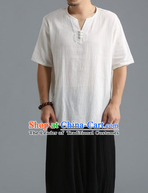 Traditional Top Chinese National Tang Suits Linen Frock Costume, Martial Arts Kung Fu Short Sleeve White T-Shirt, Kung fu Unlined Upper Garment, Chinese Taichi Shirts Wushu Clothing for Men