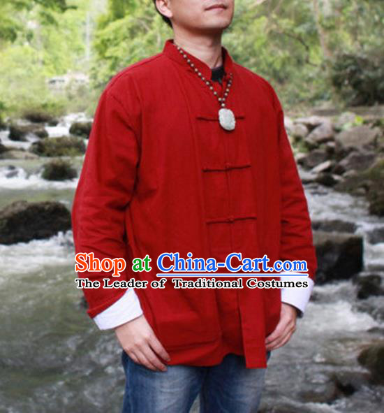 Traditional Top Chinese National Tang Suits Linen Costume, Martial Arts Kung Fu Front Opening Red Coats, Kung fu Plate Buttons Jacket, Chinese Taichi Short Coats Wushu Clothing for Men