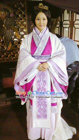 Traditional Top Chinese Ancient Imperial Consort Costume, Elegant Young Lady Hanfu Dress Chinese Qin Dynasty Imperial Princess Embroidered Tailing Clothing for Women