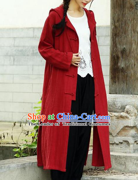 Traditional Top Chinese National Tang Suits Linen Costume, Martial Arts Kung Fu Front Opening Red Hooded Coats, Chinese Kung fu Plate Buttons Dust Coats, Chinese Taichi Long Coats Wushu Clothing for Women