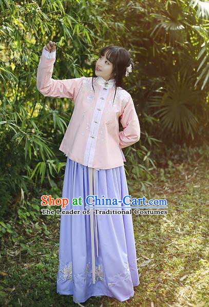 Traditional Ancient Chinese Female Costume Dress and Blouse Complete Set, Elegant Hanfu Clothing Chinese Ming Dynasty Palace Lady Embroidered Paeonia Lactiflora Clothing for Women