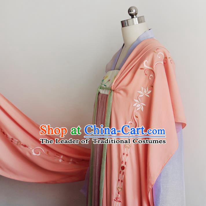 Traditional Ancient Chinese Female Costume Cardigan Cappa, Elegant Hanfu Brocade Scarf Chinese Ming Dynasty Palace Lady Embroidered Twin  Lotuses Wearing Silks Clothing for Women