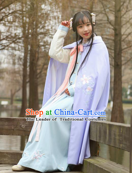 Traditional Ancient Chinese Female Costume Cardigan, Elegant Hanfu Long Cloak Chinese Ming Dynasty Palace Lady Embroidered Paeonia Lactiflora Hooded Cape Clothing for Women