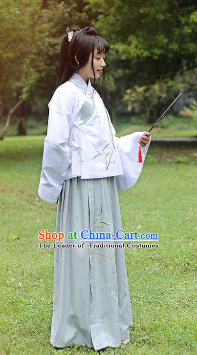 Traditional Ancient Chinese Female Costume Blouse and Dress Complete Set, Elegant Hanfu Slant Opening Clothing Chinese Ming Dynasty Palace Lady Embroidered Bamboo Leaf Clothing for Women