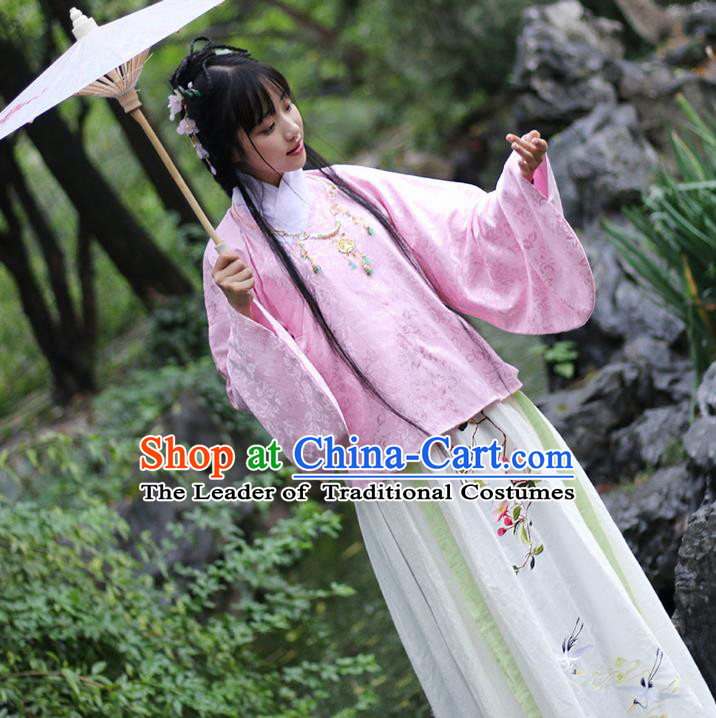 Traditional Ancient Chinese Female Costume Blouse and Skirt Complete Set, Elegant Hanfu Clothing Chinese Ming Dynasty Palace Lady Embroidered Begonia Crane Clothing for Women