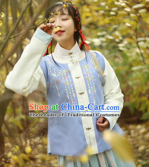 Traditional Ancient Chinese Female Costume Round Collar Vest, Elegant Hanfu Vest Chinese Ming Dynasty Palace Lady Embroidered Front Opening Waistcoat Clothing for Women