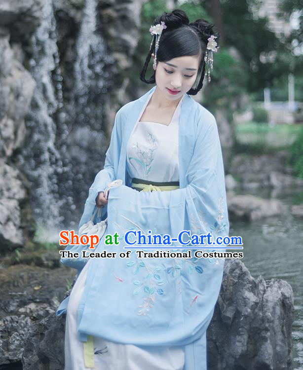 Traditional Ancient Chinese Female Costume Wide Sleeve Cardigan and Dress Complete Set, Elegant Hanfu Underpants Clothing Chinese Tang Dynasty Palace Lady Embroidered Semen Cassiae Clothing for Women
