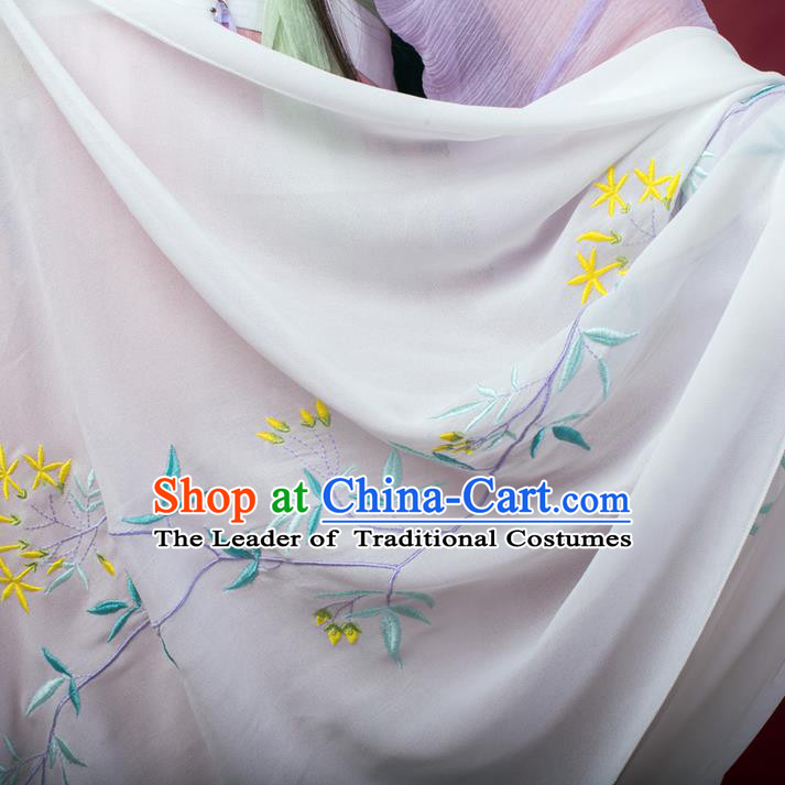 Traditional Ancient Chinese Female Costume Cardigan Wide Cappa, Elegant Hanfu Brocade Scarf Chinese Ming Dynasty Palace Lady Embroidered Orchid Wearing Silks Clothing for Women