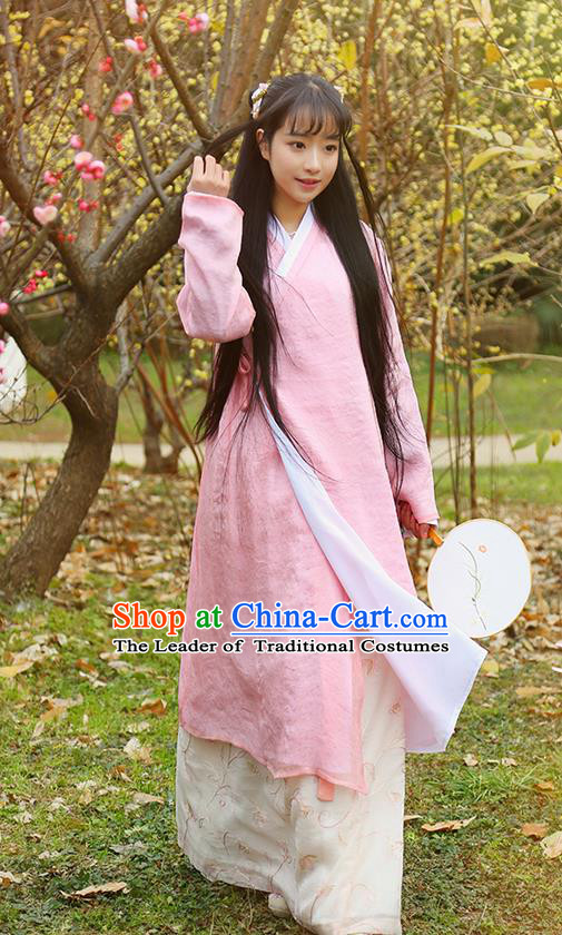 Traditional Ancient Chinese Female Costume, Elegant Hanfu Clothing Long Gown Chinese Ming Dynasty Palace Lady Embroidered Clothing for Women