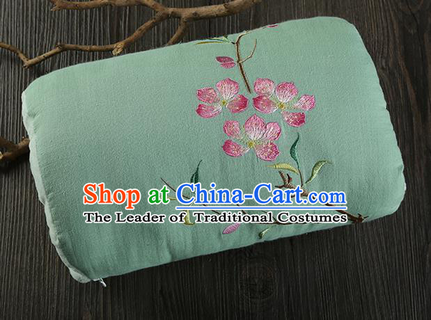 Traditional Ancient Chinese Embroidered Muff Embroidered Peach Blossom Bolster Light Green Handwarmers for Women